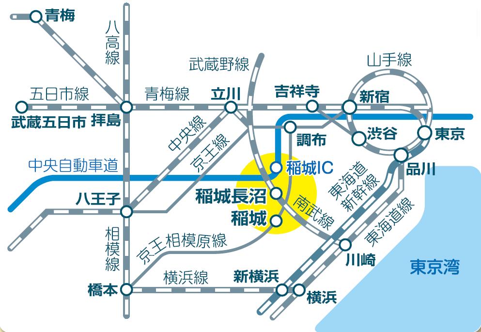 稲城市へのアクセス